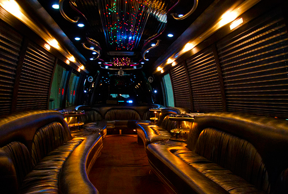 Luxury Limousine Party Bus Interior by Neumann Enterprises
