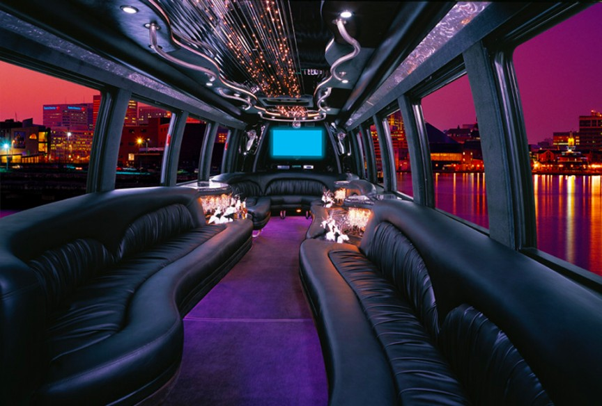 Luxury Limousine Party Bus Interior with 24 Passenger Capacity