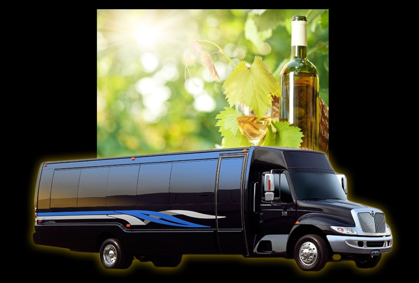 Luxury limousine bus with wine glass in background